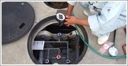 DO(溶存酸素濃度)計で溶存酸素濃度測定。